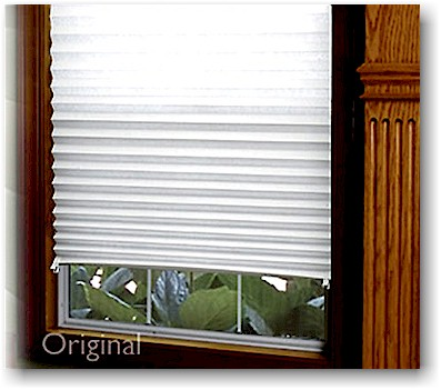 These affordable, temporary pleated shades are made from heavy-duty white paper and install in seconds...just peel the tape back and stick them in place, no holes to fill later. Use the enclosed clips to hold the shade open during the day and simply let them down for privacy at night.